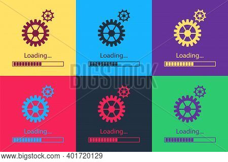Pop Art Loading And Gear Icon Isolated On Color Background. Progress Bar Icon. System Software Updat