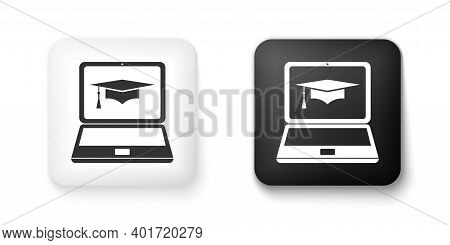 Black And White Graduation Cap And Laptop Icon. Online Learning Or E-learning Concept Icon Isolated