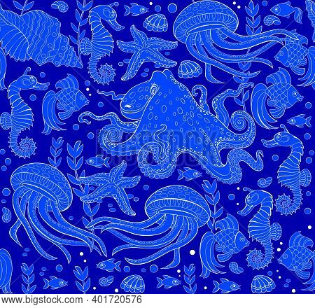 Seamless Pattern Ornament With Beautiful Underwater Life And Maritime Decoration. Sea Background. Mo