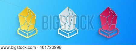 Paper Cut Cryptocurrency Coin Ethereum Classic Etc Icon Isolated On Blue Background. Digital Currenc
