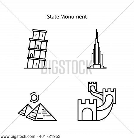 State Building Icon Set Isolated On White Background From Buildings Collection. State Building Icon