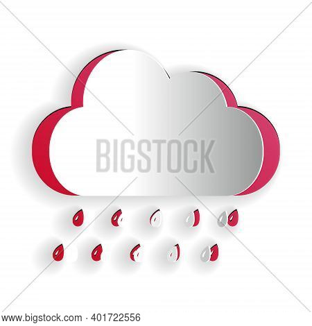 Paper Cut Cloud With Rain Icon Isolated On White Background. Rain Nimbus Cloud Precipitation With Ra