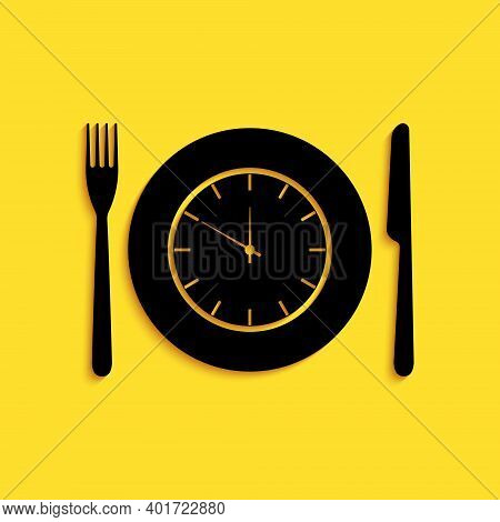 Black Plate With Clock, Fork And Knife Icon Isolated On Yellow Background. Lunch Time. Eating, Nutri