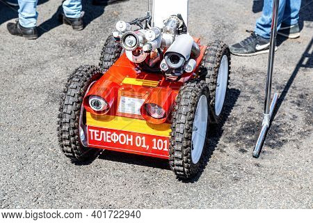 Samara, Russia - May 1, 2019: Fire Fighting Robot. Mobile Autonomous Wheled Vehicle Firefighter
