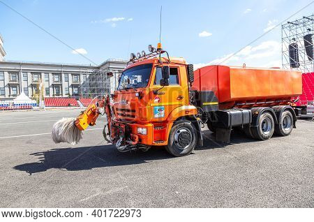 Samara, Russia - May 1, 2019: Street Sweeper Vehicle With Brushes And Water Tank For Cleans Streets