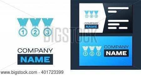 Logotype Set Medal Icon Isolated On White Background. Winner Simbol. Logo Design Template Element. V