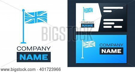 Logotype Flag Of Great Britain On Flagpole Icon Isolated On White Background. Uk Flag Sign. Official
