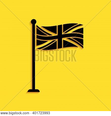 Black Flag Of Great Britain On Flagpole Icon Isolated On Yellow Background. Uk Flag Sign. Official U