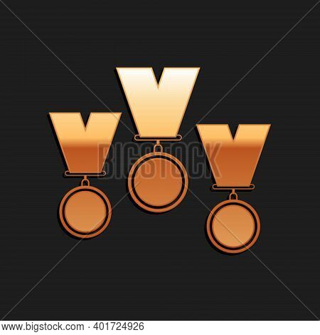 Gold Medal Set Icon Isolated On Black Background. Winner Simbol. Long Shadow Style. Vector