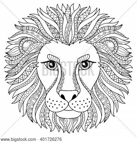 Coloring Book For Adults. Vector Silhouette Of Lion Isolated On White Background. Zodiac Sign Leo