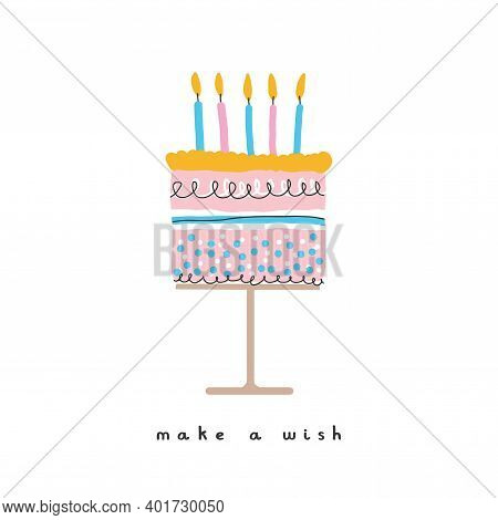 Make A Wish. Cute Nursery Art Ideal For Card, Wall Art, Greeting, Birthday Wishes. Lovely Hand Drawn