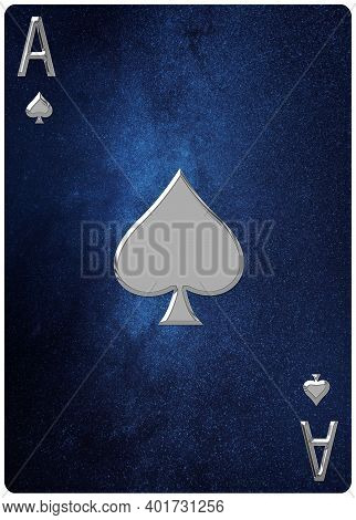 Ace Of Spades Playing Card, Space Background, Gold Silver Symbols, With Clipping Path.
