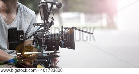 Film Industry. Filming With Professional Camera.