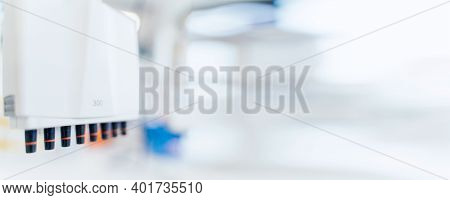 Laboratory Research Banner Wit Copy Space. Laboratory Equipment And Laboratory Testing