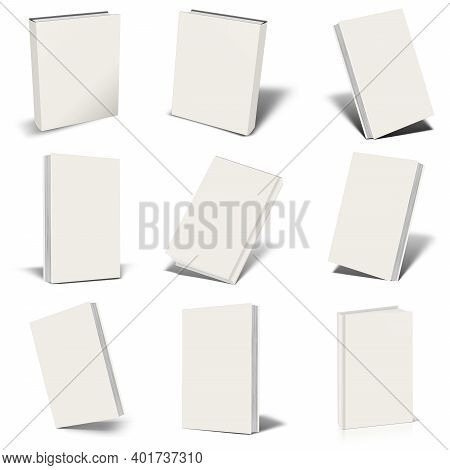 Nine Blank White  Book Mockup With Shadow Isolated On White. Illustration 3d Rendering.