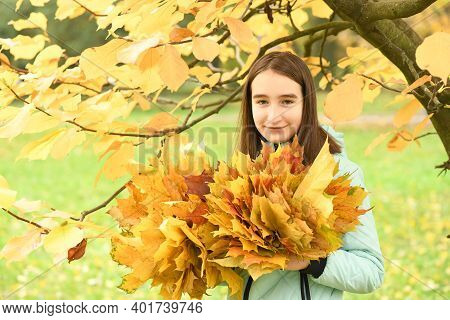 Pre-adolescent Girl Holds A Bouquet Of Autumn Leaves In Her Hand. Warm Autumn Day, Yellow Autumn Lea