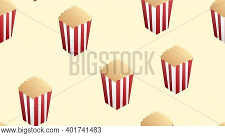 Pop Corn Boxes And Corn Explosion Parts Vector Seamless Pattern Isolated On White Background. Movie