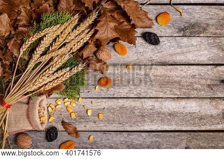 Concept Celebration Orthodox Christmas On Rustic Wooden Table. Fasting Food And Christmas Eve Decora