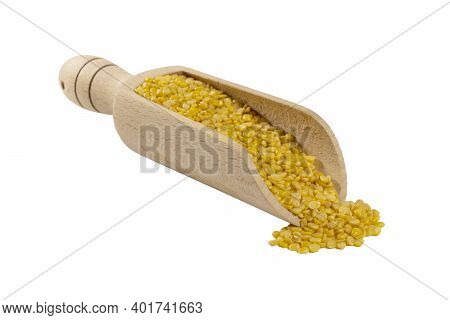 Mung Dal Or Mung Daal Bean In Wooden Scoop Isolated On White Background. Nutrition. Bio. Natural Foo