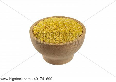 Mung Dal Or Mung Daal Bean In Wooden Bowl Isolated On White Background. Nutrition. Food Ingredient.
