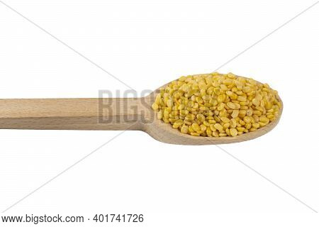 Mung Dal Or Mung Daal Bean On Wooden Spoon. Nutrition. Bio. Natural Food Ingredient.