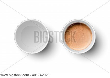 Vector 3d Realistic Paper White Disposable Empty And With Milk Coffee, Foam Cup Set Isolated. Espres