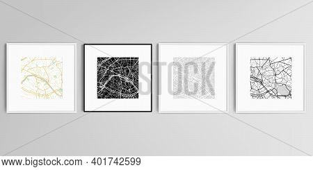 Realistic Vector Set Of Square Picture Frames Isolated On Gray Background With Urban City Map Of Par