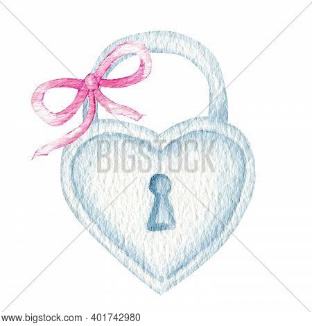 Watercolor Heart Lock Padlock With Pink Ribbon Bow Romance Love Valentine Day Concept, Isolated Illu