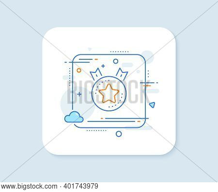 Ranking Star Line Icon. Abstract Square Vector Button. Winner Medal Sign. Best Rank Symbol. Ranking