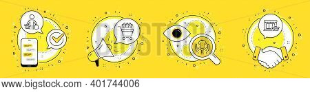 Hold T-shirt, Buyer And Shopping Rating Line Icons Set. Cell Phone, Megaphone And Deal Vector Icons.