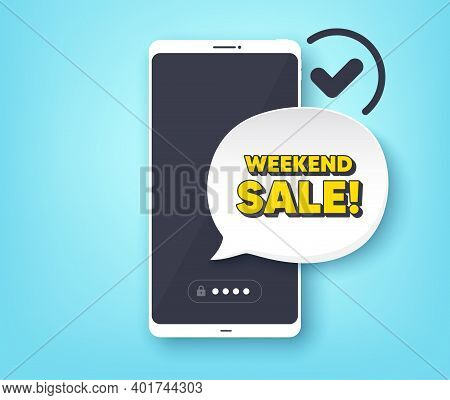 Weekend Sale. Mobile Phone With Alert Notification Message. Special Offer Price Sign. Advertising Di