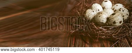 Quail Eggs. Easter Banner With Free Space. Eggs In Nest On Brown Wooden Background.