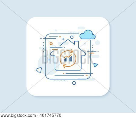 Chart Line Icon. Abstract Vector Button. Update Report Graph Or Sales Growth Sign. Analysis And Stat