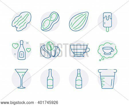 Food And Drink Icons Set. Included Icon As Love Champagne, Coffee Cup, Pecan Nut Signs. Peanut, Ice