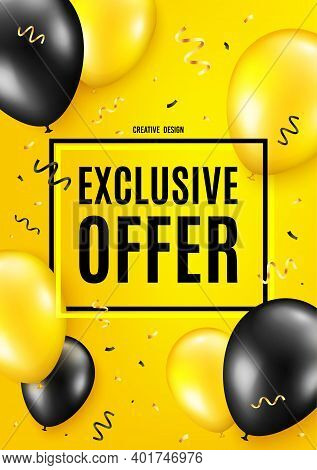 Exclusive Offer. Balloon Celebrate Background. Sale Price Sign. Advertising Discounts Symbol. Birthd