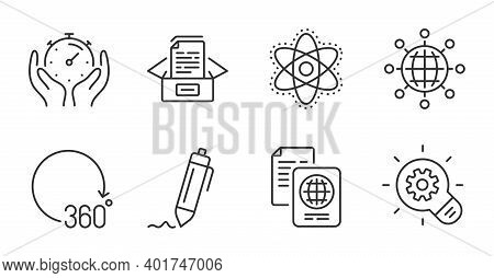 Passport Document, Chemistry Atom And Documents Box Line Icons Set. Signature, 360 Degrees And Timer