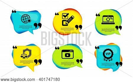 Checkbox, Video Content And Seo Laptop Icons Simple Set. Speech Bubble With Quotes. World Weather, J