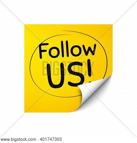 Follow Us Symbol. Sticker Note With Offer Message. Special Offer Sign. Super Offer. Yellow Sticker B