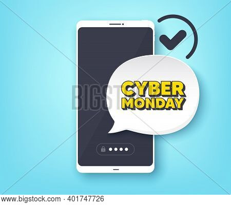 Cyber Monday Sale. Mobile Phone With Alert Notification Message. Special Offer Price Sign. Advertisi