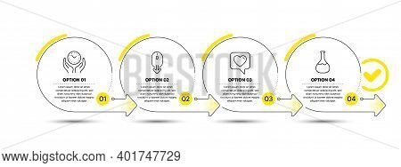 Heart, Scroll Down And Safe Time Line Icons Set. Timeline Process Infograph. Chemistry Lab Sign. Lik