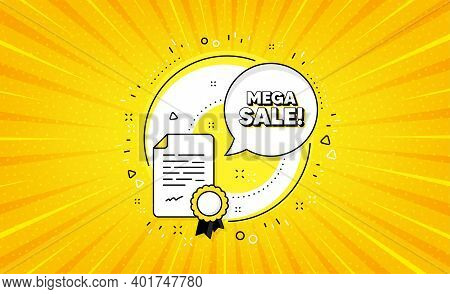 Mega Sale. Yellow Vector Button With Certificate. Special Offer Price Sign. Advertising Discounts Sy