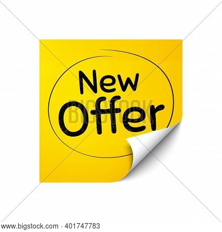 New Offer. Sticker Note With Offer Message. Special Price Sign. Advertising Discounts Symbol. Yellow