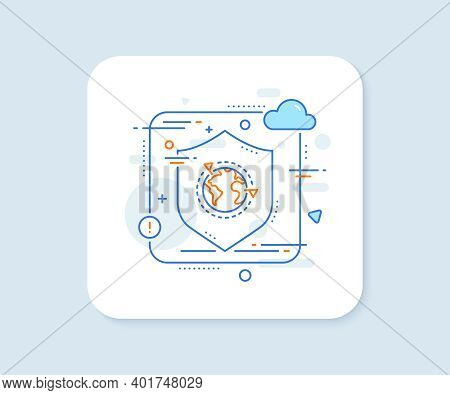Global Business With Flags Line Icon. Abstract Vector Button. International Outsourcing Sign. Intern