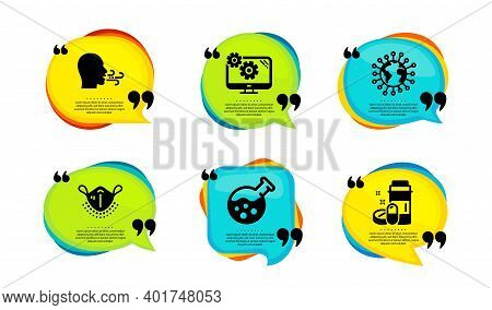 Medical Mask, Chemistry Lab And Breathing Exercise Icons Simple Set. Speech Bubble With Quotes. Coro