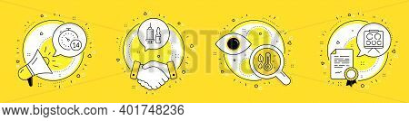 Medical Vaccination, Thermometer And Quarantine Line Icons Set. Megaphone, Licence And Deal Vector I