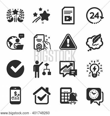 Set Of Education Icons, Such As Calculator Alarm, Verify, Ranking Symbols. Clock, Accounting, Mobile
