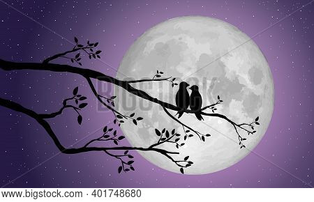 Silhouette Of Loving Birds Perched On A Branch Of A Tree Over The Full Moon For  Love And Valentine