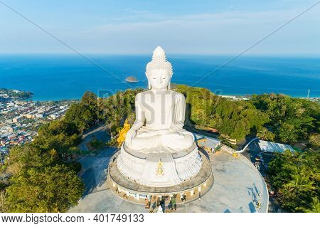 Vesak Day Background Concept Of Big Buddha Over High Mountain In Phuket Thailand Aerial View Drone C