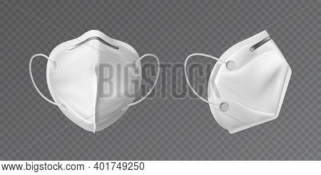 White Face Mask. Mockup Protective Face Mask, Medical Mask On Transparent Background. Realistic 3d I