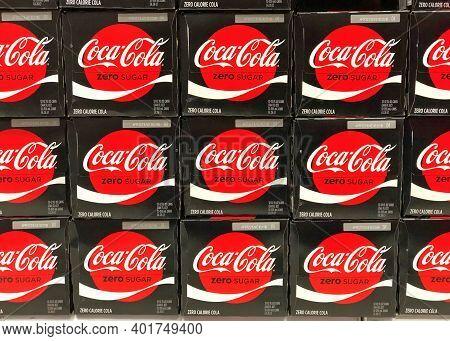 Alameda, Ca - Dec 14, 2020: Grocery Store Shelf With Stacked Cases Of Coca Cola Brand Coke Zero. Zer